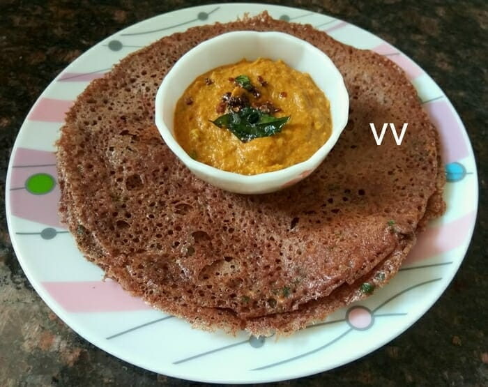 Ragi Dosa with Sambhar and Chutney